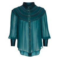 Richards Radcliffe Belgravia Silk Blouse Peacock Green