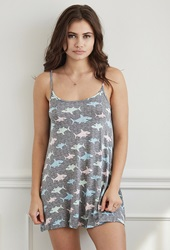 Forever 21 Shark Print Cami Nightdress Grey Multi