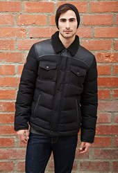 Forever 21 Bellfield Quilted Faux Leather Paneled Jacket Black