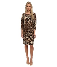 Christin Michaels Susan Print Shift Dress Brown Leopard Women's Dress Animal Print