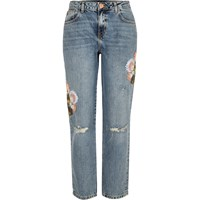 River Island Womens Light Wash Embroidered Cigarette Jeans