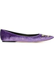Tomas Maier Embellished Pointed Toe Ballerinas Pink And Purple