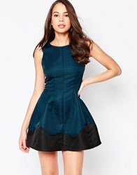 Ax Paris Skater Dress With Wave Detail Hem Teal With Black Wave Green