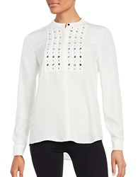 Karl Lagerfeld Embellished Long Sleeve Crepe Blouse Soft White