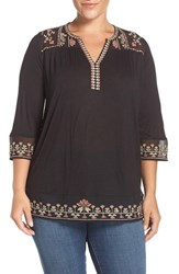 Lucky Brand Plus Size Women's Embroidered Sheer Yoke Top Jet Black