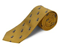 Double Two Polyester Dogs Tie Gold