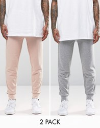 Asos 2 Pack Skinny Jersey Joggers In Dusty Pink And Grey Marl Rose Dust Grey Marl Multi