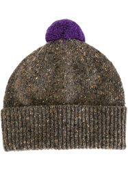 Paul Smith Pom Pom Speckled Beanie Grey