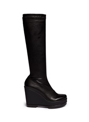Robert Clergerie 'Sostij' Stretch Leather Wedge Knee High Boots Black
