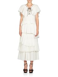 Sonia Rykiel Lace Up Asymmetrical Cotton Dress White