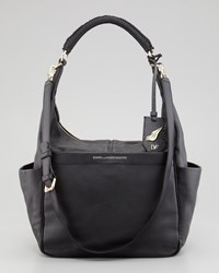 Diane Von Furstenberg Franco Leather Hobo Bag Black