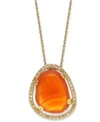 Macy's 14K Gold Over Sterling Silver Necklace Carnelian 6 1 2 Ct. T.W. And Diamond 1 5 Ct. T.W. Pendant Orange
