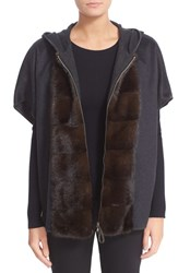 Fabiana Filippi Women's Hooded Cashmere Flannel Cape With Genuine Mink Fur Trim