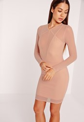 Missguided Long Sleeve Mesh Overlay Harness Dress Nude Beige