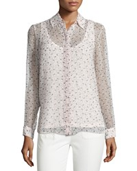 See By Chloe Long Sleeve Semisheer Printed Top Pink Women's Size 42