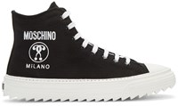 Moschino Black Canvas Logo High Top Sneakers