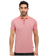 Ted Baker Trynor Linen Collar Stripe Polo Coral Men's Short Sleeve Pullover
