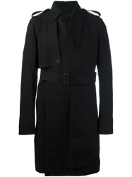 Rick Owens Belted Trench Coat Black