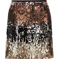 River Island Womens Silver Ombre Sequin Mini Skirt