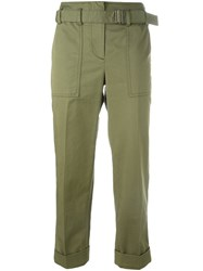 3.1 Phillip Lim Belted Cropped Trousers Green