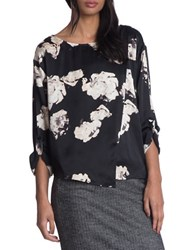 Tracy Reese Blouson Sleeve Floral Top Black White