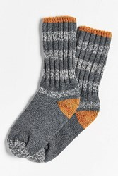 Woolrich Rugby Stripe Crew Sock Charcoal
