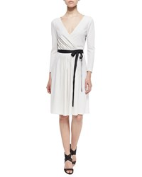 Diane Von Furstenberg Seduction Long Sleeve Lace Trim Wrap Dress White Black Size 14 Black White