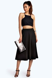 Boohoo Plain Full Circle Midi Skirt Black