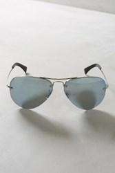 Anthropologie Ray Ban Rimless Aviator Sunglasses Silver One Size Eyewear