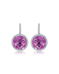 Diana M. Jewels 14K Round Pink Topaz And Diamond Drop Earrings Women's