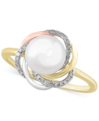 Effy Collection Effy Cultured Freshwater Pearl 8Mm And Diamond Accent Tri Tone Knot Ring In 14K Yellow Rose And White Gold
