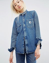 Carhartt Wip Fitted Denim Salinac Shirt With Distressing Blue