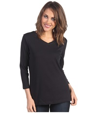 Pendleton Three Quarter Sleeve Rib Tee Black Women's T Shirt