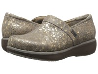 Softwalk Meredith Grey Gold Metallic Rose Embossed Leather Women's Slip On Shoes Brown