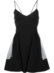 David Koma Sheer Side Panel Dress Black
