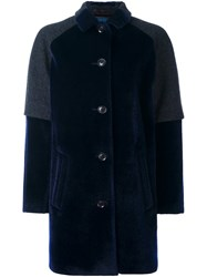 Kolor Contrast Panel Buttoned Coat Blue