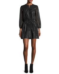 Etoile Isabel Marant Salome Metallic Peasant Dress Black