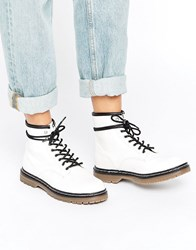 Pull And Bear Pullandbear Lace Up Work Boots White