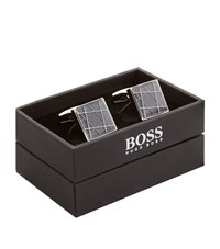 Boss Graphic Square Cufflinks Unisex Grey