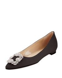 Manolo Blahnik Hangisi Linen Crystal Buckle Flat Natural Black