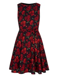 Mela Loves London Vintage Floral Print Day Dress Red