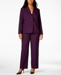 Le Suit Plus Size Three Button Pantsuit