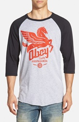 Obey 'Pegasus Propaganda' Graphic Baseball T Shirt Grey Black Red