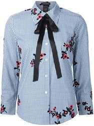 Marc Jacobs Floral Gingham Shirt Blue