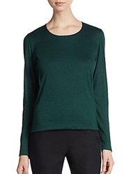 Akris Cashmere And Silk Jersey Long Sleeve Top Green