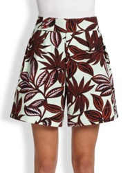 Etro Twill Palm Print Shorts Mint Rust