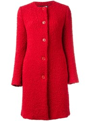Love Moschino Single Breasted Coat Red