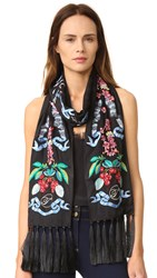 Temperley London Sail Embroidered Dinner Scarf Black