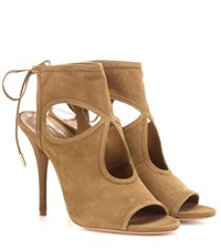 Aquazzura Sexy Thing 105 Suede Sandals Green