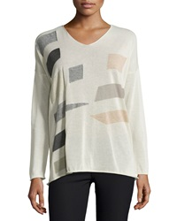 Lafayette 148 New York Colorblock V Neck Sweater Raffia Multi